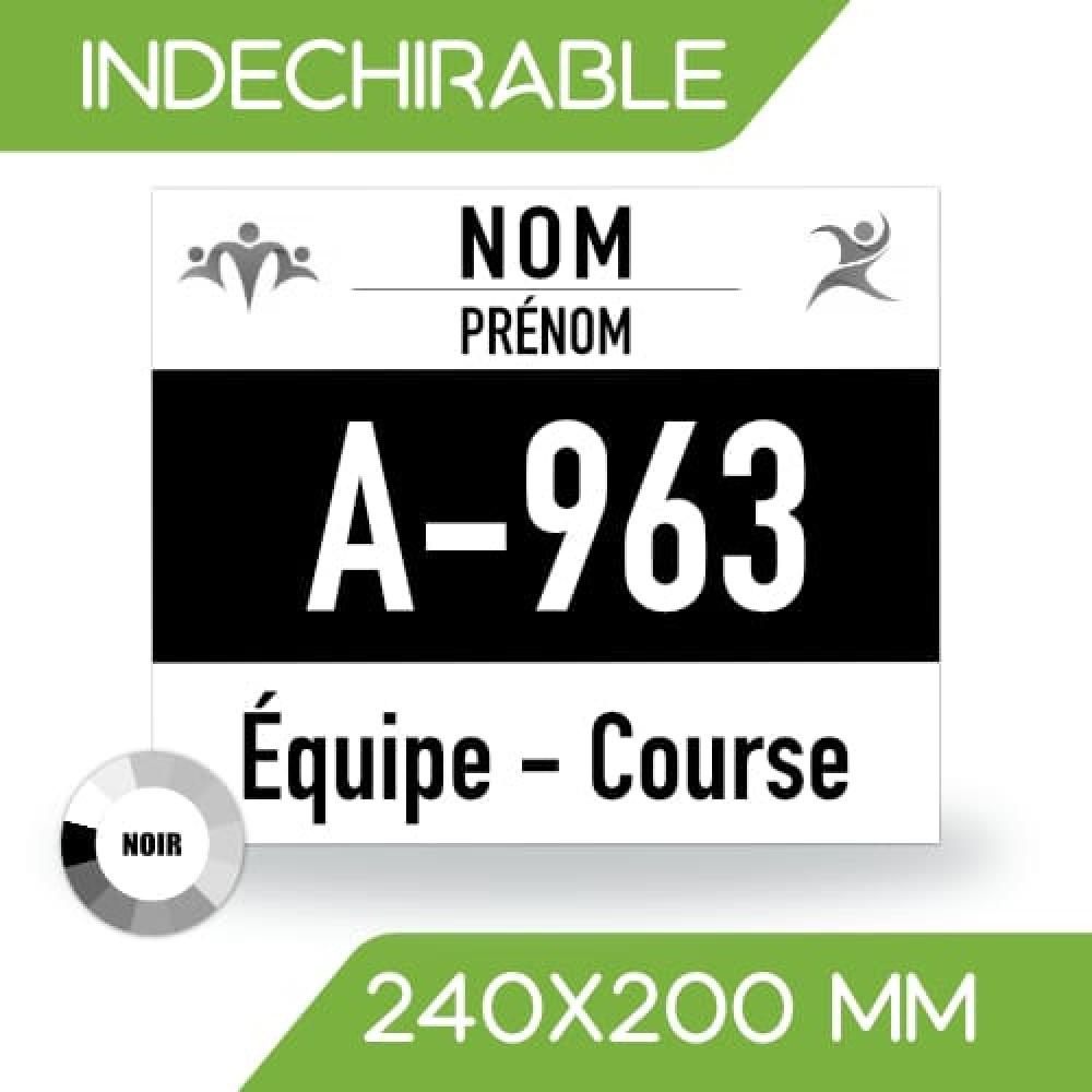DOSSARD INDÉCHIRABLE NOIR 240x200 mm