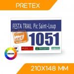 DOSSARD PRÉTEX COULEUR 210x148 mm
